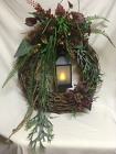 Flickering Lantern Botanical Wreath from Chillicothe Floral, local florist in Chillicothe, OH
