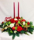 Traditional Holiday Two Candle Centerpiece from Chillicothe Floral, local florist in Chillicothe, OH