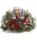 Thomas Kinkade's Festive Fire Station Bouquet from Chillicothe Floral, local florist in Chillicothe, OH