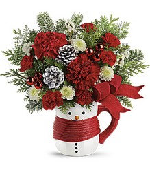 Send a Hug Snowman Mug Bouquet by Teleflora from Chillicothe Floral, local florist in Chillicothe, OH