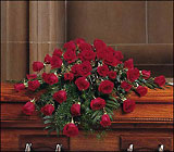 Blooming Red Roses Casket Spray from Chillicothe Floral, local florist in Chillicothe, OH